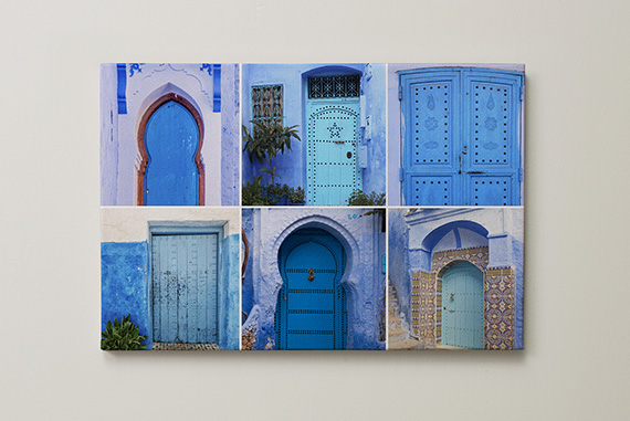 Blauwe kleurenfoto's op canvas