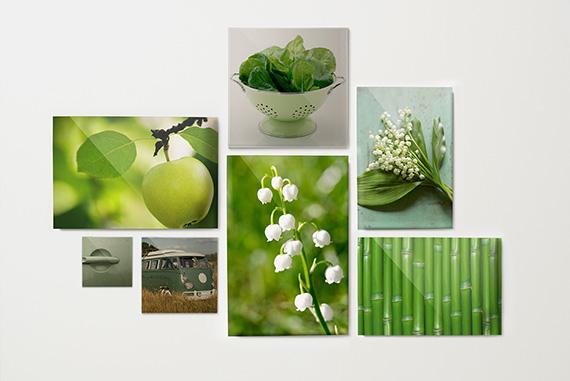 Groene foto's op plexiglas