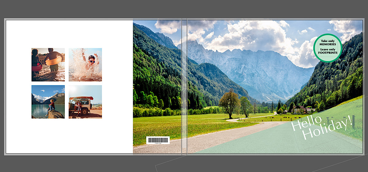 Vakantie fotoboek omslag idee