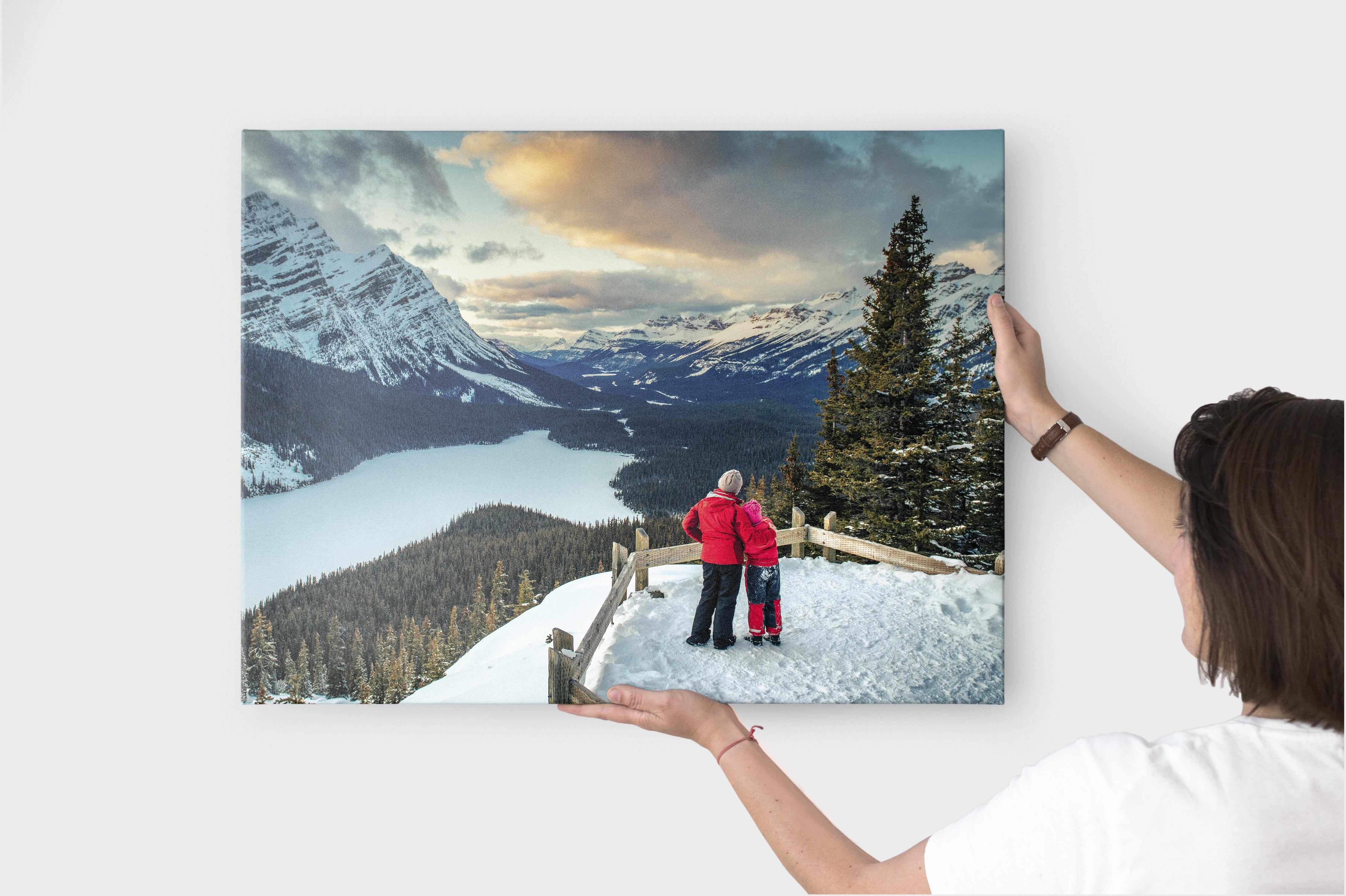 Een wanddecoratie aan de muur met een foto van een winters landschap